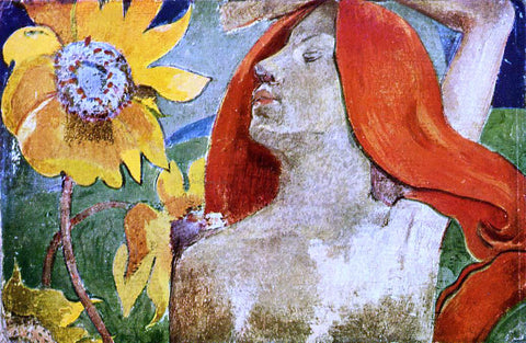 Paul Gauguin Redheaded Woman and Sunflowers - Hand Painted Oil Painting