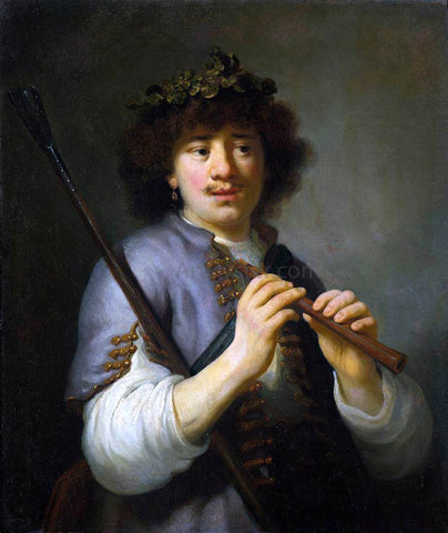 Govert Teunisz Flinck Rembrandt as Shepherd with Staff and Flute - Hand Painted Oil Painting