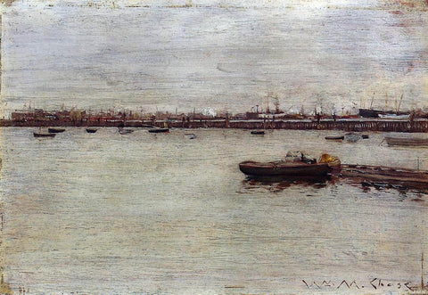 William Merritt Chase Repair Docks, Gowanus Pier - Hand Painted Oil Painting