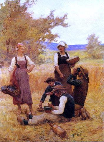 Theophile-Louis Deyrolle Repast in the Fields - Hand Painted Oil Painting