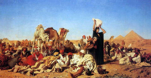 Leopold Karl Muller Rest in the Desert near Gizha - Hand Painted Oil Painting