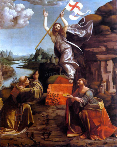 Marco D'Oggiono Resurrection of Christ with Sts Leonardo and Lucy - Hand Painted Oil Painting