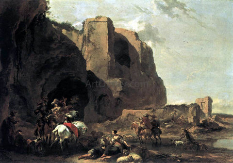 Nicolaes Berchem Return from the Falcon Hunt - Hand Painted Oil Painting