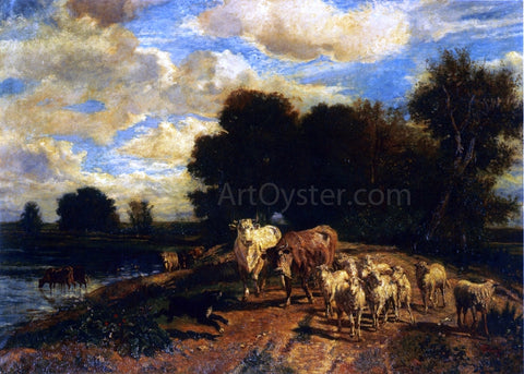Giuseppe Palizzi Returning to Pasture - Hand Painted Oil Painting