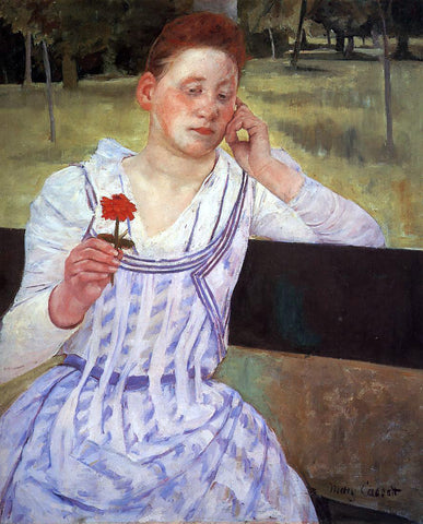 Mary Cassatt Reverie (also known as Woman with a Red Zinnia) - Hand Painted Oil Painting