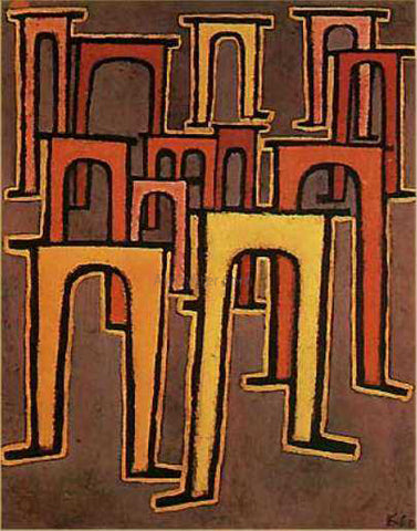 Paul Klee Revolution of the Viaduct - Hand Painted Oil Painting