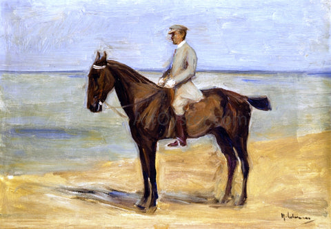 Max Liebermann Rider on the Beach Facing Left - Hand Painted Oil Painting