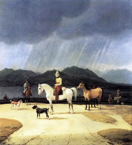 Wilhelm Von Kobell Riders at the Tegernsee - Hand Painted Oil Painting
