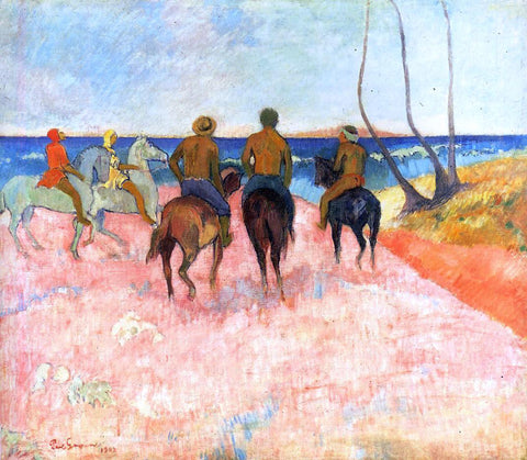 Paul Gauguin Riders on the Beach - Hand Painted Oil Painting