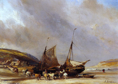 Eugene Isabey Riders on the Beach with Ship - Hand Painted Oil Painting