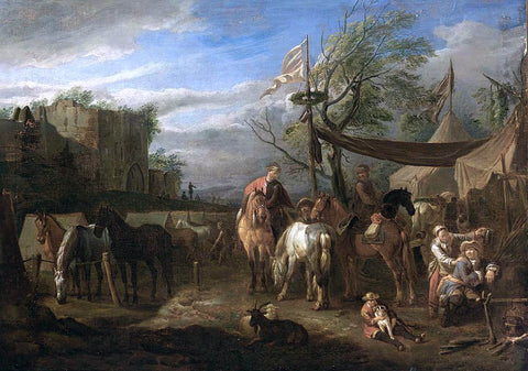 Pieter Van Bloemen Riders Resting at a Military Encampment - Hand Painted Oil Painting