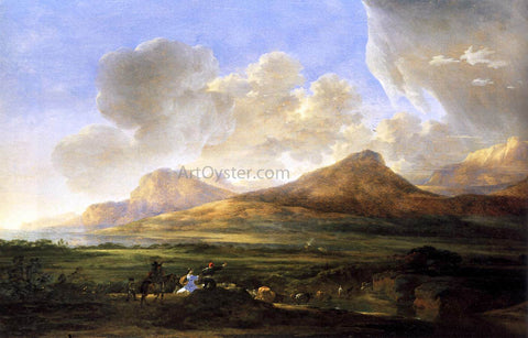 Jan Asselyn River Bank with Herdsmen - Hand Painted Oil Painting