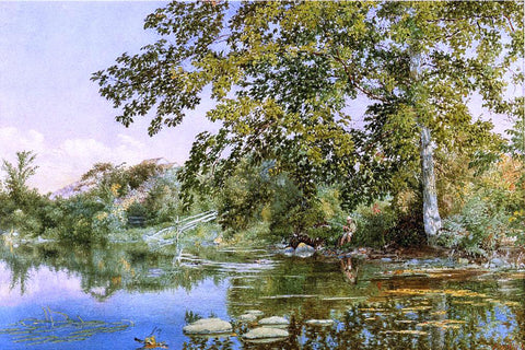 John William Hill River Landscape with Boy Fishing - Hand Painted Oil Painting
