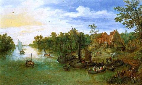 The Elder Jan Bruegel River Landscape with Landing - Hand Painted Oil Painting