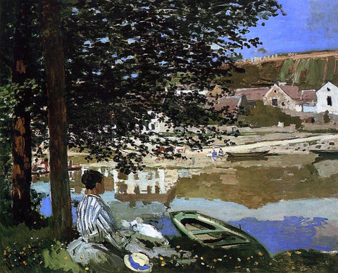 Claude Oscar Monet A River Scene at Bennecourt - Hand Painted Oil Painting