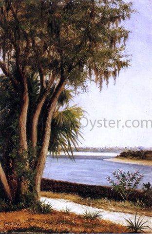 William Aiken Walker River, Tree, City on Horizon - Hand Painted Oil Painting