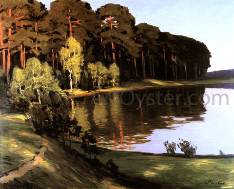 Walter Leistikow Riverscene with Forest beyond - Hand Painted Oil Painting