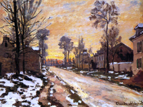Claude Oscar Monet Road at Louveciennes, Melting Snow, Sunset - Hand Painted Oil Painting