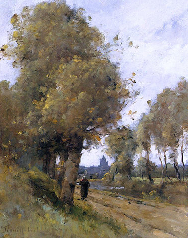 Paul Desire Trouillebert Road by the Side of the River Morbihan - Hand Painted Oil Painting