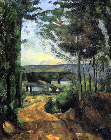 Paul Cezanne Road, Trees and Lake - Hand Painted Oil Painting