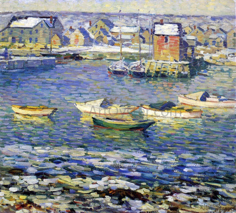 Robert Spencer Rockport, Boats in a Harbor - Hand Painted Oil Painting