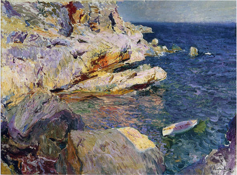 Joaquin Sorolla Y Bastida Rocks and White Boat, Javea - Hand Painted Oil Painting