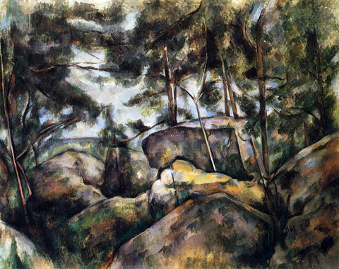 Paul Cezanne Rocks at Fountainebleau - Hand Painted Oil Painting