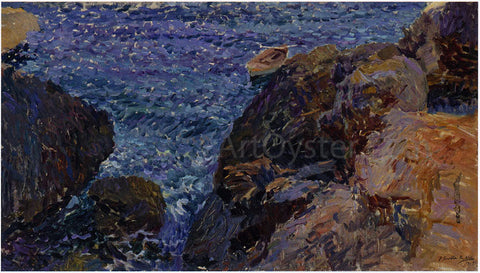 Joaquin Sorolla Y Bastida Rocks at Javea, The White Boat - Hand Painted Oil Painting