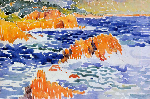 Henri Edmond Cross Rocks at Trayas - Hand Painted Oil Painting