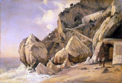 Jean-Baptiste-Camille Corot Rocks in Amalfi - Hand Painted Oil Painting