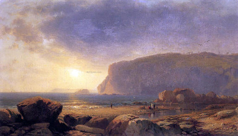 William M Hart Rocky Coast at Sunset - Hand Painted Oil Painting