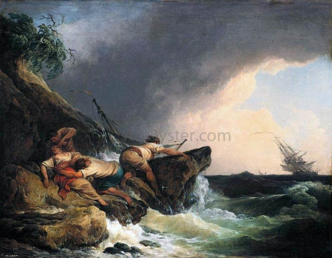 Philip Jacques De Loutherbourg Rocky Coastal Landscape in a Storm - Hand Painted Oil Painting