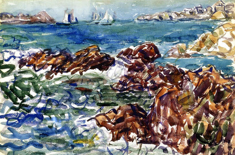 Maurice Prendergast Rocky Cove with Village - Hand Painted Oil Painting