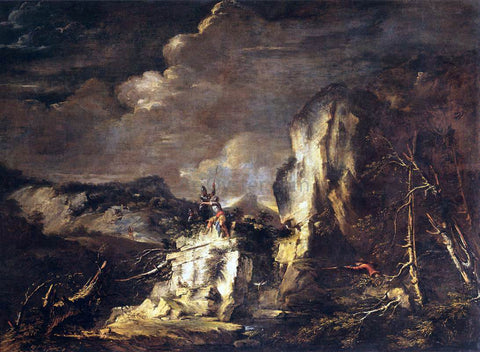 Salvator Rosa Rocky Landscape with a Huntsman and Warriors - Hand Painted Oil Painting