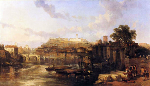 David Roberts Rome, View on the Tiber Looking Towards Mounts Palatine and Aventine - Hand Painted Oil Painting