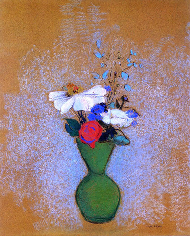 Odilon Redon Rose, Peony and Cornflowers in a Green Vase - Hand Painted Oil Painting