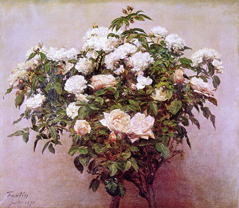 Henri Fantin-Latour Rose Trees - White Roses - Hand Painted Oil Painting