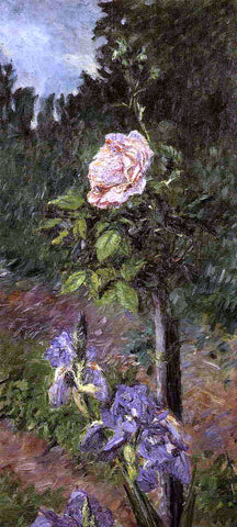 Gustave Caillebotte Rose with Purple Iris, Garden at Petit Gennevilliers - Hand Painted Oil Painting