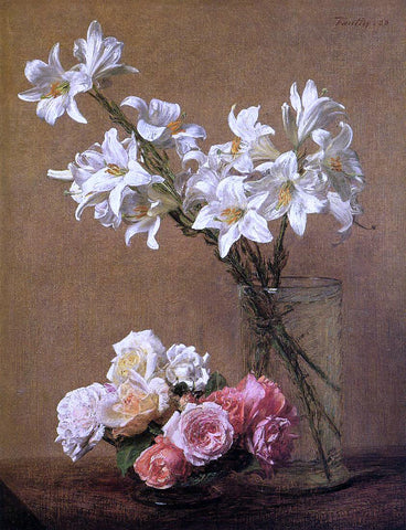 Henri Fantin-Latour Roses and Lilies - Hand Painted Oil Painting