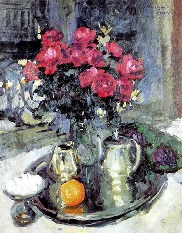 Constantin Alexeevich Korovin Roses and Violets - Hand Painted Oil Painting