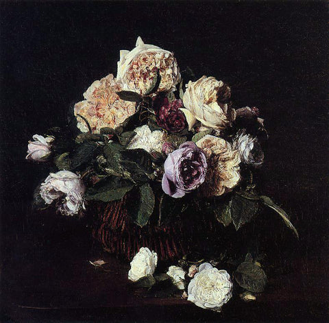 Henri Fantin-Latour Roses in a Basket on a Table - Hand Painted Oil Painting