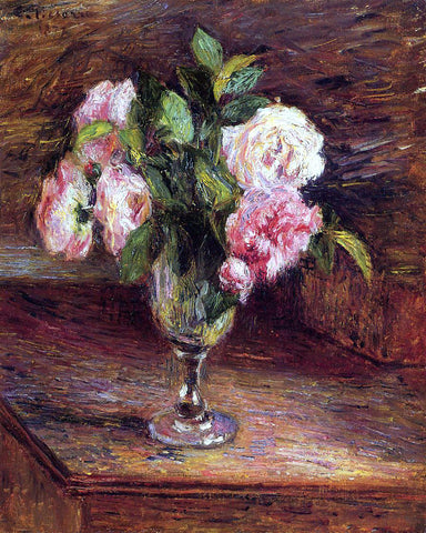 Camille Pissarro Roses in a Glass - Hand Painted Oil Painting