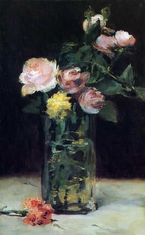Edouard Manet Roses in a Glass Vase - Hand Painted Oil Painting