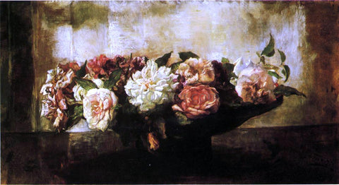 John La Farge Roses in a Shallow Bowl - Hand Painted Oil Painting