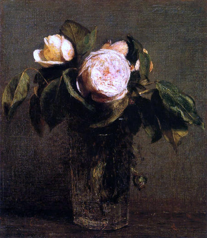 Henri Fantin-Latour Roses in a Tall Glass - Hand Painted Oil Painting
