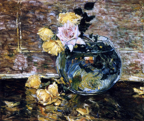 Frederick Childe Hassam Roses in a Vase - Hand Painted Oil Painting