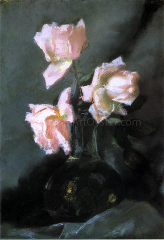 John La Farge Roses in a Vase - Hand Painted Oil Painting