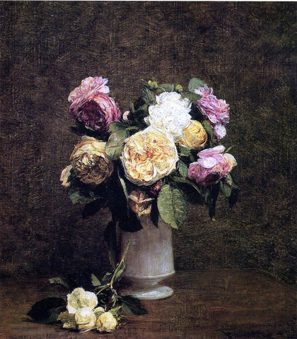 Henri Fantin-Latour Roses in a White Porcelin Vase - Hand Painted Oil Painting