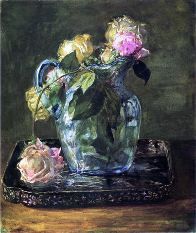 John La Farge Roses in Blue Crackle Glass Pitcher - Hand Painted Oil Painting