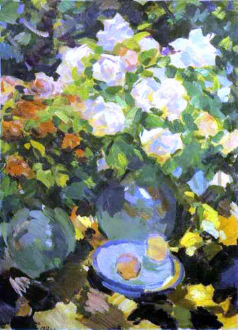 Constantin Alexeevich Korovin Roses in Blue Jugs - Hand Painted Oil Painting